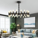 Tube Pendant Lighting Modern Metal 24/36/60 Lights Black/White Hanging Chandelier with Acrylic Shade