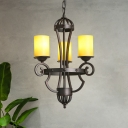 3 Lights Tube Chandelier with Yellow Glass Shade Country Style Hanging Ceiling Light in Black