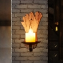 Candle Wall Sconce with Foot Print Wooden Backplate 1 Light Rustic Wall Mounted Lighting in Black