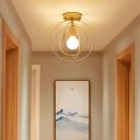 Triple Metal Ring Ceiling Mount Light Fixture Modern 1 Light Golden Flush Ceiling Light Fixture for Bedroom