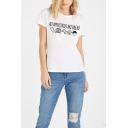 Fashion Letter ALL MY FRIENDS ARE BREAD Print Short Sleeve Slim Fit T-Shirt