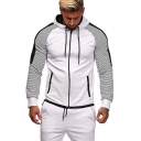 Hot Sale Colorblocked Stripe Panelled Slim Fit Zipper Sport Hoodie