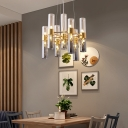 14/24/26/34/38 Lights Pipe Pendant Light Fixture with Smoke Gray Glass Shade Modernism Chandelier Lamp in Gold