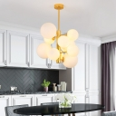 White Glass Bubble Pendant Lighting Mid Century Modern 10/13 Heads Gold Chandelier Light