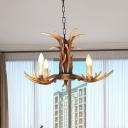 4/6/8/10 Lights Bare Bulb Chandelier Light with Antlers Decoration Vintage Resin Hanging Lamp in Brown