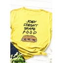 Casual Letter JOEY DOESN'T SHARE FOOD Print Short Sleeve Leisure Graphic T-Shirt