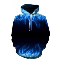 Cool Fire Pattern Kangaroo Pocket Long Sleeve Pullover Hoodie