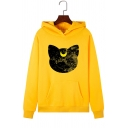 Starry Sky Moon Cat Printed Long Sleeve Pullover Casual Hoodie with Pocket