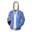 Color Block Cartoon Skull Long Sleeve Zip Up Hooded Drawstring Hoodie