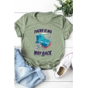 Letter THERE IS NO WAY BACK Cartoon Pattern Printed Short Sleeve Loose Tee