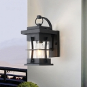 Black Square/Rectangle Shade Wall Light Sconce 1 Bulb Industrial Wall Sconce Lighting with Glass Shade for Outside