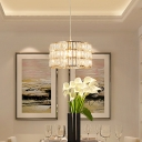 Modern Drum Hanging Lamp Clear Faceted Crystal Gold Single Pendant Light for Dining Table