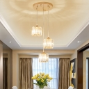 3 Lights Cluster Pendant Light with Drum/Square Clear Crystal Shade Modern Hanging Ceiling Light in Gold