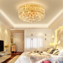 6 Bulbs Drum Close to Ceiling Light Clear Crystal Flush Mount Ceiling Light in Gold for Bedroom