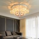 Modern Square Flush Lamp with Hanging Pink Rose 19.5
