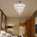 Crystal Block Layered Semi Flush Light Contemporary 5 Bulbs Clear Semi Flushmount Lighting in Chrome