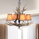 Height Adjustable Chandelier Lamp with Cone Shade and Antlers Resin Country 4/6/8/10/15 Bulbs Pendant Lighting in Brown