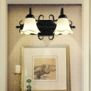 2/3 Heads Scalloped Vanity Lighting Opal Glass Shade Loft Indoor Wall Sconce Light for Bathroom