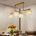 Brass Cylinder Hanging Lights Modern Crystal and Metal 4 Heads Lighting Fixture for Kitchen Dining