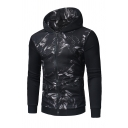 3D Abstract Pattern Panel Printed Long Sleeve Zip Up Fitted Hoodie for Men