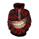 Funny Big Mouth HA Letter Printed Long Sleeve Drawstring Hoodie