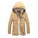 Mens Sherpa Lined Fur-Trimmed Hood Applique Embellished Zip Up Longline Down Coat