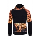 Leopard Printed Colorblock Panel Long Sleeve  Pullover Hoodie