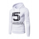 Letter and  Numb 5 Printed Long Sleeve Fitted Drawstring Hoodie