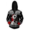 Classic Comic Jack Skellington Skull Figure Print Long Sleeve Zip Up Black Hoodie