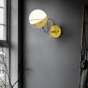 Sphere Sconce Lighting Mid Century Modern 1 Light Satin Opal Glass Wall Light for Bedside