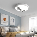 Integrated Led Round/Square Flush Lamp Contemporary Metal White Ceiling Light with Acrylic Diffuser