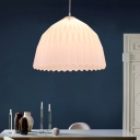 Plastic Dome Hanging Light with Folded Design Modernism 1 Light Ceiling Pendant in White