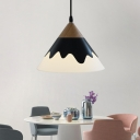 Metal Cone Pendant Lighting 1 Light Black/Gray/White Hanging Ceiling Light with Wooden Cap