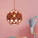 Nordic Macaron Orb Hanging Light Metal Shade 1 Light Blue/Pink/Yellow Pendant Lamp with Hollow Out Design