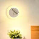 Led Round/Rectangle/Square/Sector Wall Lamp with Spotlight Adjustable Metal Wall Mounted Reading Light in Warm/White