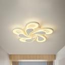 White Bloom Flush Light 2 Tiers 10/12/16/20 Lights Metal Modern Flush Mount Ceiling Light in Warm/White