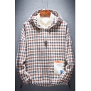 Mens New Stylish Plaid Letter 1983 Printed Long Sleeve Casual Pullover Hoodie