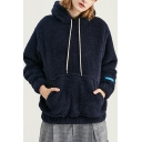 New Arrival Simple Plain Long Sleeve Drawstring Hooded Elastic Hem Casual Pullover Unisex Plush Hoodie