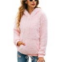 Hot Sale Plain Long Sleeve Pocket Winter Warm Faux Fur Teddy Pink Casual Hoodie