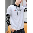 Mens New Trendy Letter Embroidered Stripe Patched Long Sleeve Fake Two-Piece Casual Sports Hoodie