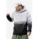 Mens Cool Ombre Color Letter Pattern Long Sleeve Casual Sports Colorblock Hoodie
