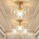 1/3 Light Crystal Semi Flush for Corridor, Modern Metal Curved Semi Flush Ceiling Lights