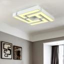 White Geometric Ceiling Flush Light 4 Lights Metal Modern Flush Lighting for Bedroom