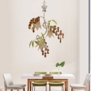 3 Lights Branch Chandelier with Frosted Glass Shade Rustic Metal White/Black Pendant Lamp
