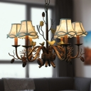 6 Lights Scalloped Chandelier with White Fabric Shade and Pinecone Rustic Pendant Lighting in Brown