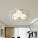 Orb Semi Flush Lighting Modernism White Glass 3 Lights Semi Flush Lighting with Black/White Metal Frame