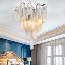 6 Bulbs Tassel Semi Flushmount Art Deco Metallic Semi Flush Ceiling Light in Chrome