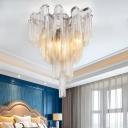 6 Bulbs Tassel Semi Flushmount Art Deco Metallic Semi Flush Ceiling Light in Chrome
