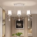 Linear Chandelier Lighting with Drum Clear Glass Shade Modern Triple Light Hanging Light in Chrome