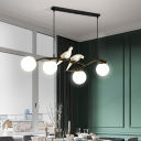 4 Lights Orb Island Lighting with Bird Accents White Glass Modern Hanging Ceiling Light in Black